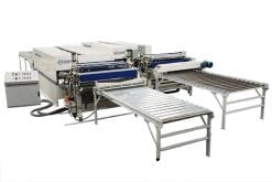 The Evans Midwest CLS 400/500 Water-Based Laminating System With Two Side-by-Side Glue Spreaders